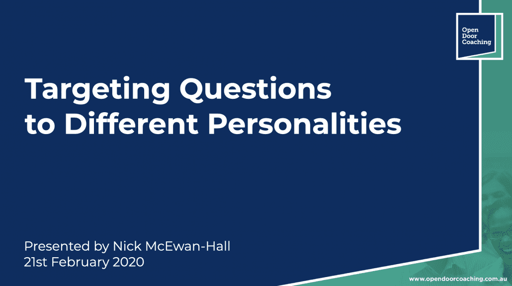 Targetting QUestions to Different Personalities